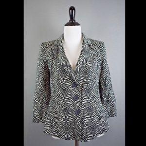 Armani Collezioni Black White Zebra Print Blazer